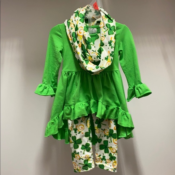 XS toddler St Patrick's Day set with scarf